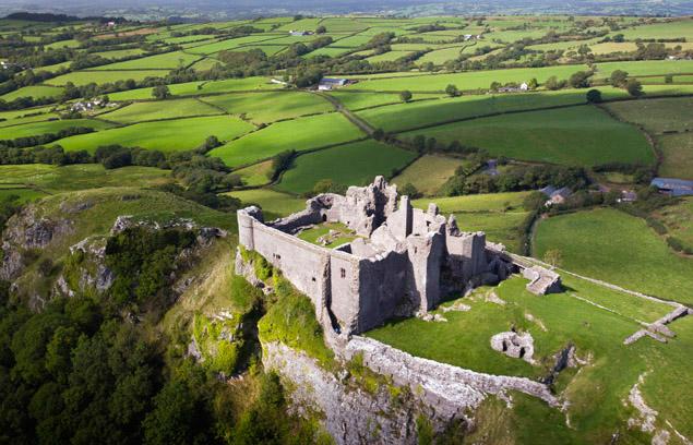 Aerial view Carreg Cennen Castle (CD 34) Carmarthenshire South Castles Historic Sites