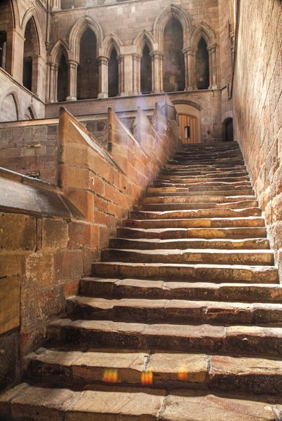 hexham abbey night stairs