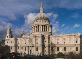 St. Paul's Cathedral, City of London. Exterior, elevated view from south east.